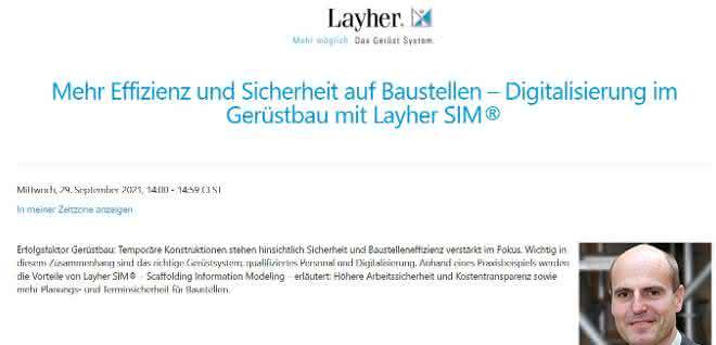 Baugewerbe Thementag: Digitalisierung im Gerüstbau mit Layher SIM