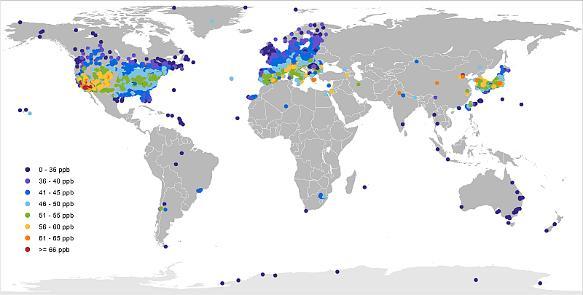 Bodennahe Ozon-Konzentrationen: Die am stärksten betroffenen Regionen
